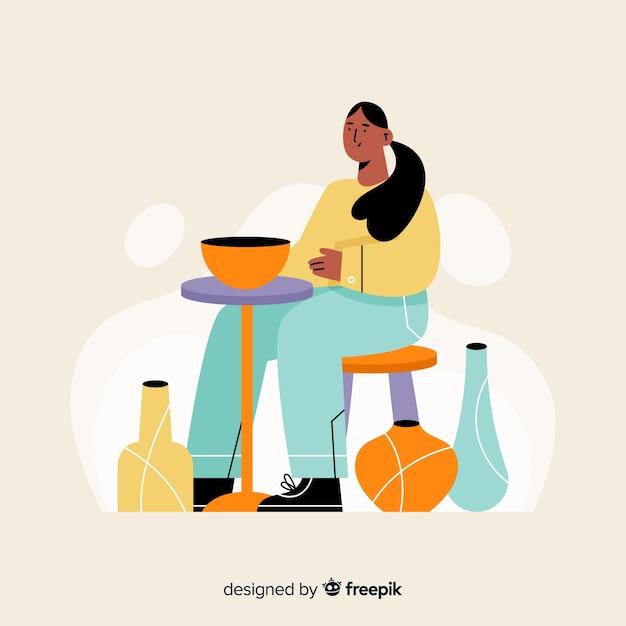 Persona dibujada a mano haciendo alfarería vector gratuito