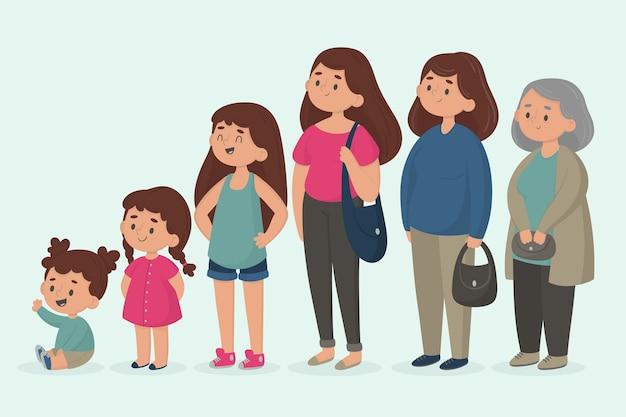 Una persona en diferentes edades ilustración vector gratuito
