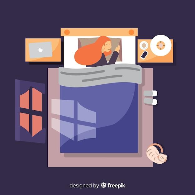 Persona durmiendo vector gratuito