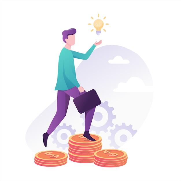 Persona de negocios sube la escalera hecha de monedas hacia el éxito. logro financiero. idea de inversión y crecimiento financiero. ilustración con estilo Vector Premium