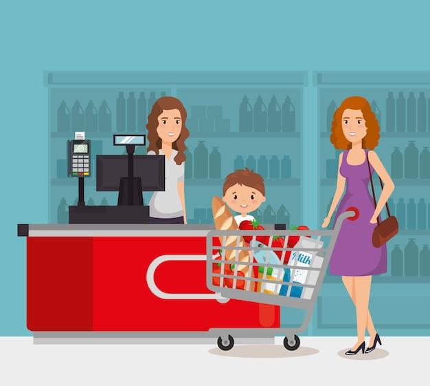 Persona en el punto de pago del supermercado Vector Premium
