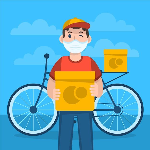Persona que realiza actividades de entrega ilustradas vector gratuito