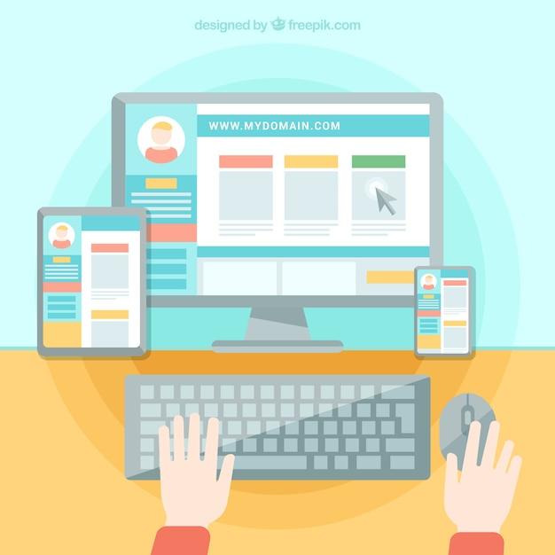 Persona que trabaja en una página web Vector Gratis
