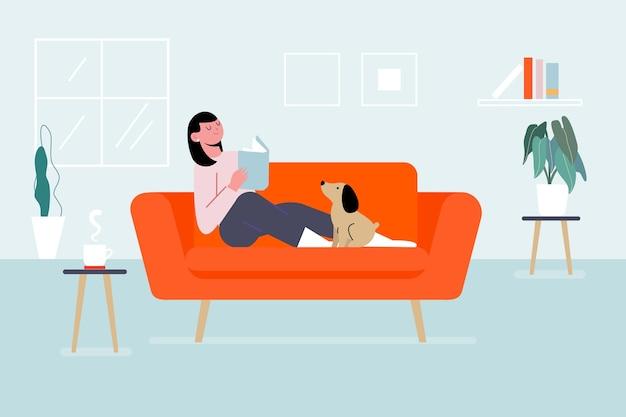 Persona relajándose en casa vector gratuito