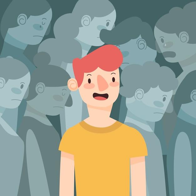 Persona sonriente en concepto de multitud para ilustración vector gratuito