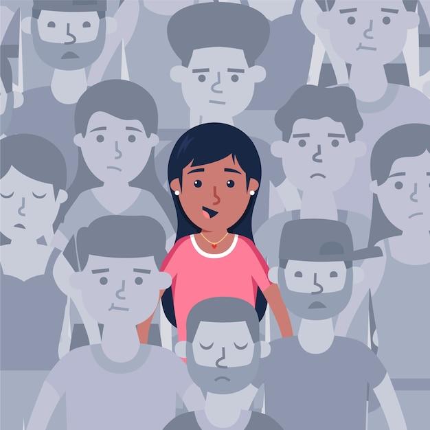 Persona sonriente en multitud vector gratuito