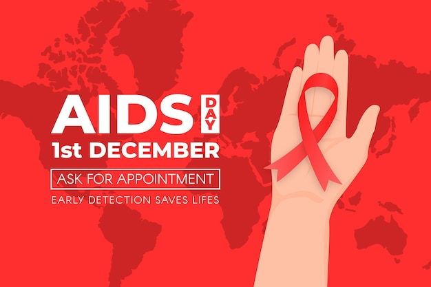 Persona sosteniendo una cinta roja en el fondo del día mundial del sida Vector Premium