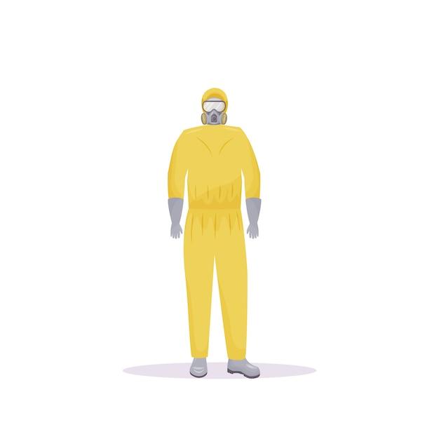 Persona vestida con traje protector con frascos de color plano sin rostro Vector Premium