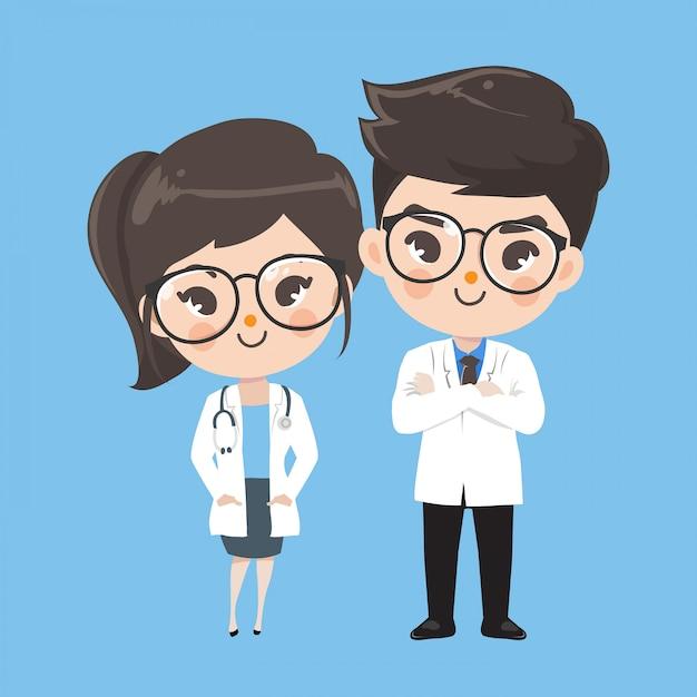 Personaje de acción doctor lindo Vector Premium
