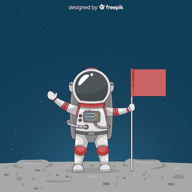 Personaje adorable de astronauta dibujado a mano vector gratuito