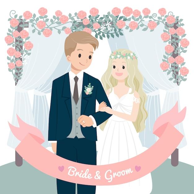 Personaje boda pareja flores arco Vector Premium