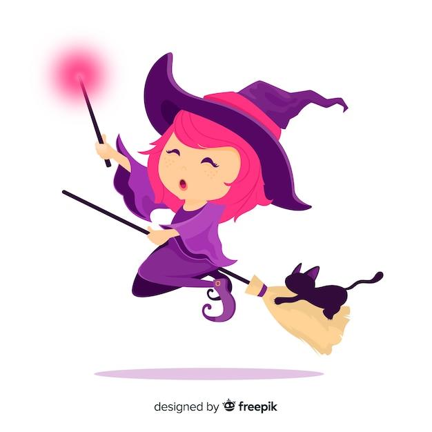 Personaje de bruja adorable con diseño plano vector gratuito