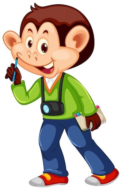Un personaje de camarógrafo mono vector gratuito