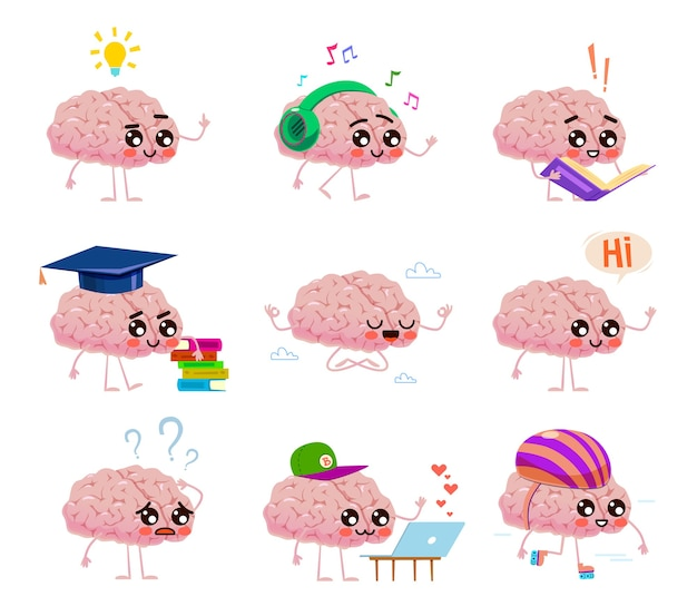 El personaje de los cerebros lee libros, escucha música, monta sobre ruedas y medita en las nubes. ideas creativas y educación pensando concepto cómico de cara linda Vector Premium