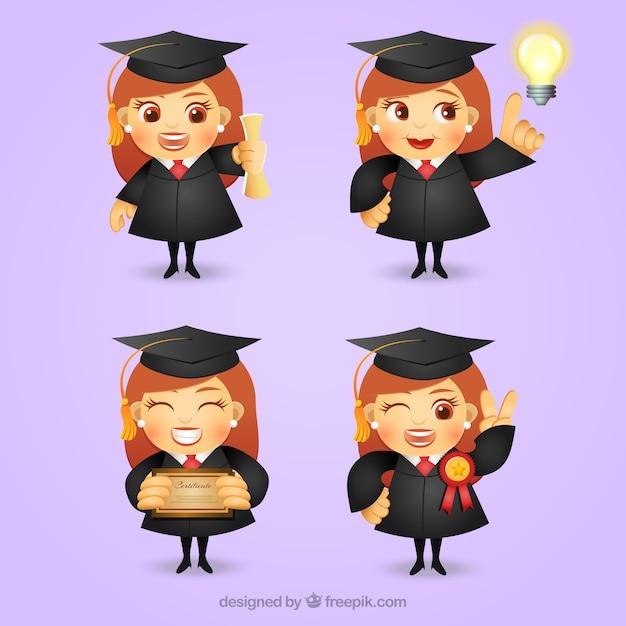 Personaje De Chica Graduada Vector Gratis