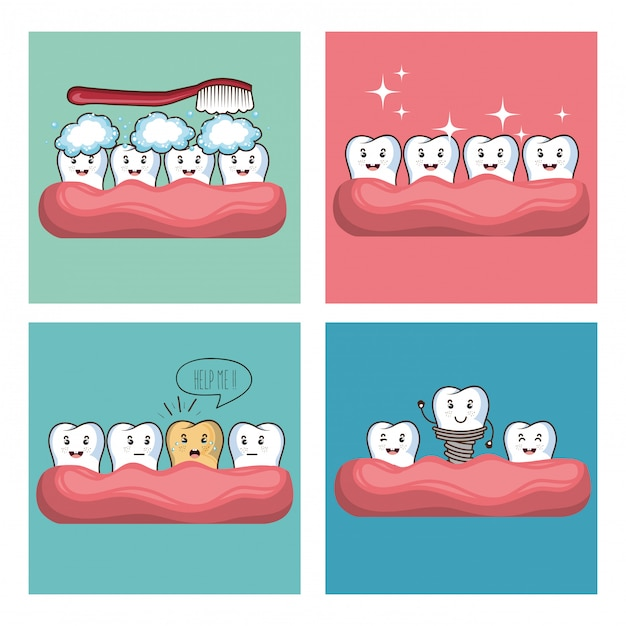 Personaje de comi kawaii de cuidado dental vector gratuito