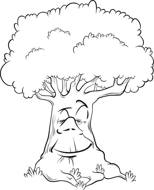 Personaje de árbol para colorear libro | Descargar Vectores Premium