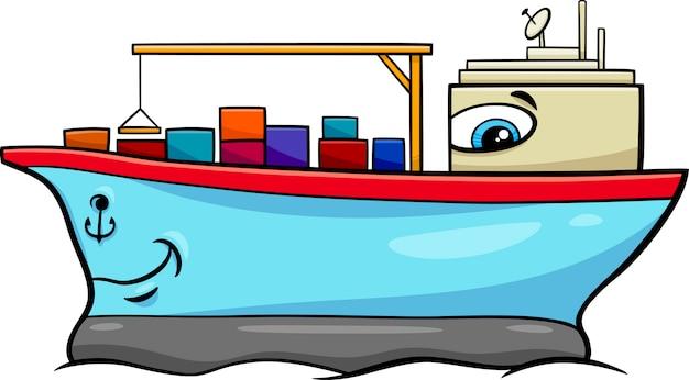 Personaje De Dibujos Animados De Barco Contenedor