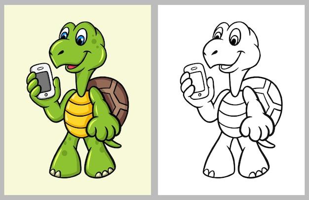 Personaje de dibujos animados de tortuga con vector de libro para ...