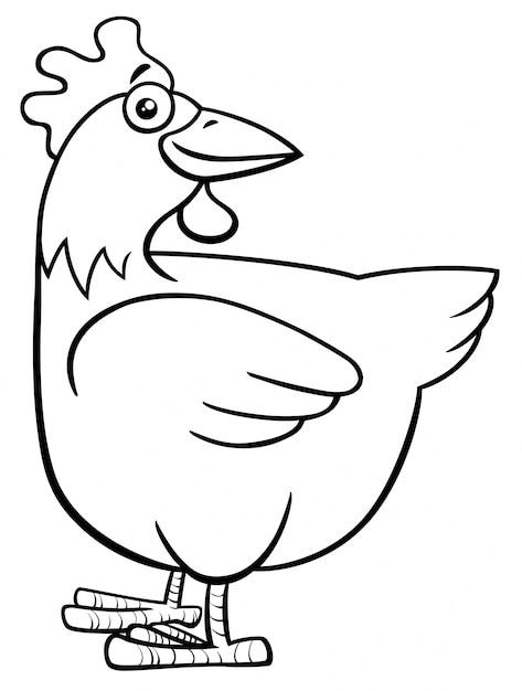 Personaje de granja gallina o gallina para colorear | Descargar ...