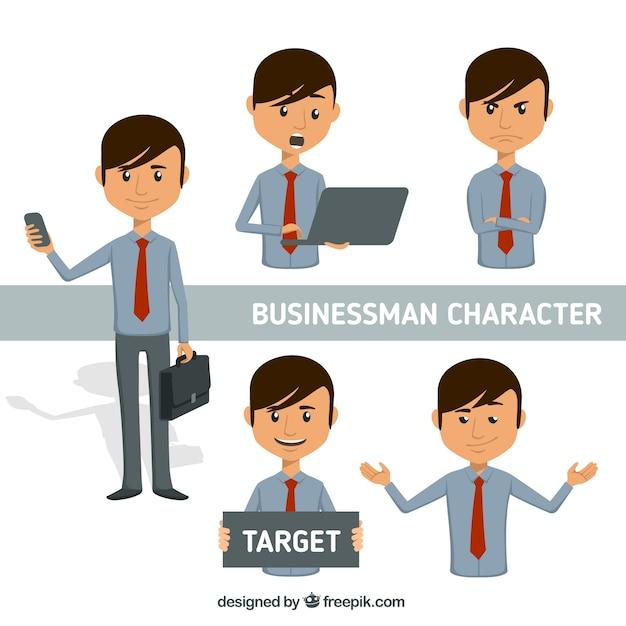 Personaje de hombre de negocios expresivo con corbata roja Vector Gratis