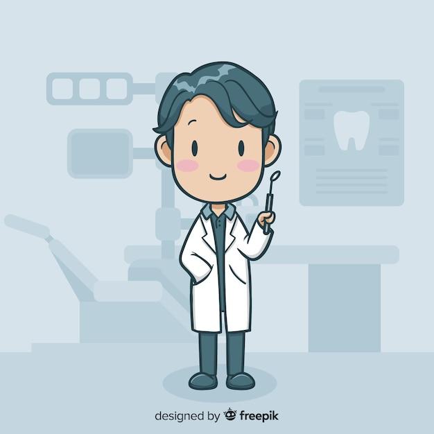 Personaje de dentista en diseño plano vector gratuito