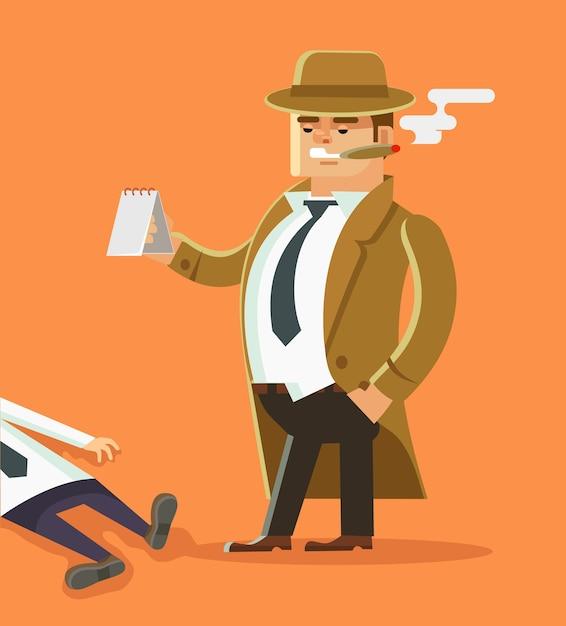 Personaje de detective con cadáver. escena criminal Vector Premium
