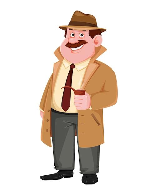 Personaje de detective con pipa de fumar Vector Premium