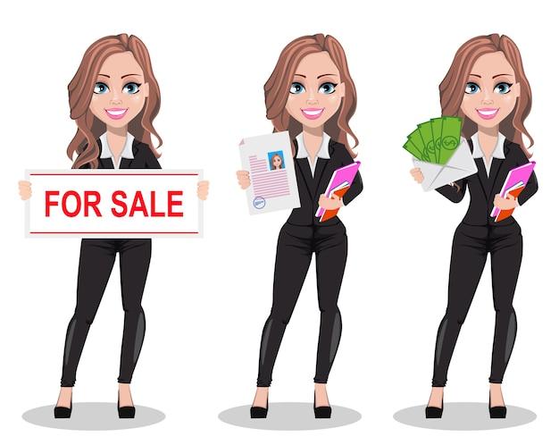 Un personaje de dibujos animados de agente inmobiliario. Vector Premium