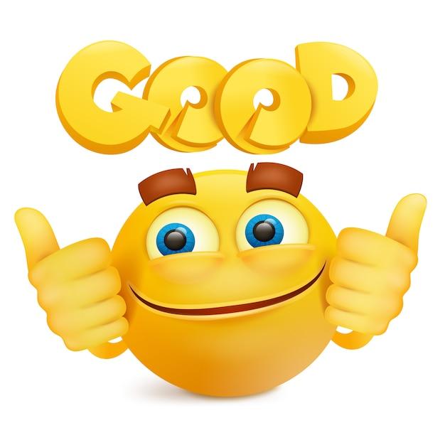 Personaje de dibujos animados amarillo emoji cara de sonrisa. Vector Premium
