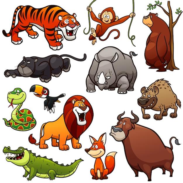 Personaje de dibujos animados de animales salvajes Vector Premium