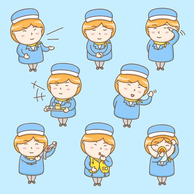 Personaje de dibujos animados azafata lindo Vector Premium