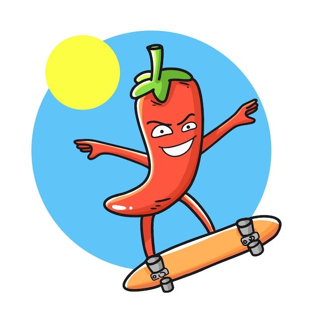 Personaje de dibujos animados divertidos de ají rojo. Vector Premium