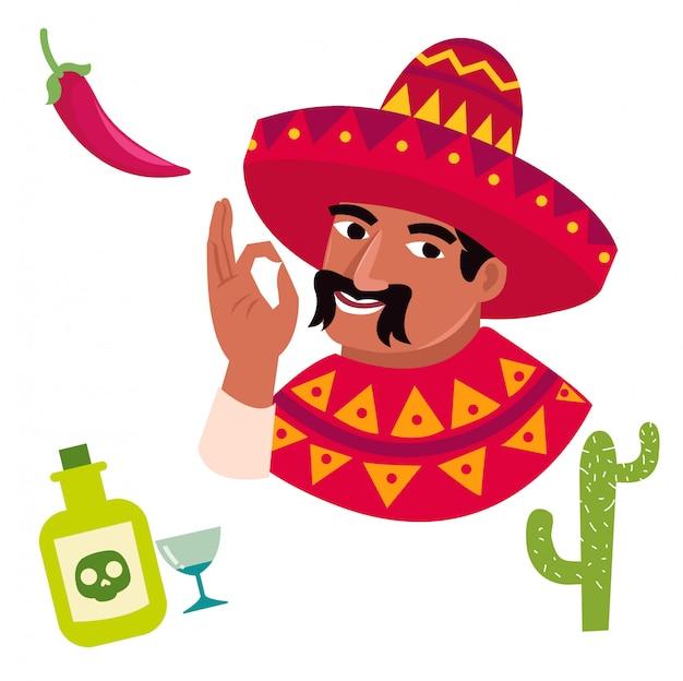 402ddbff2 Personaje de dibujos animados divertidos de hombres mexicanos ...