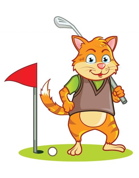 Personaje De Dibujos Animados De Gato Jugando Al Golf Descargar