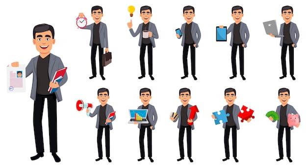 Personaje de dibujos animados guapo hombre de negocios Vector Premium