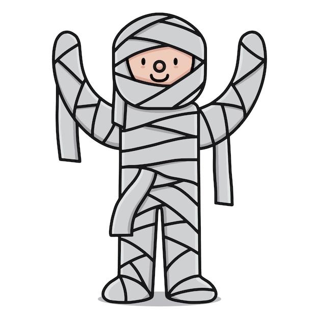 Personaje de dibujos animados lindo momia Vector Premium