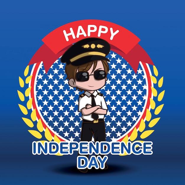 Personaje de dibujos animados lindo piloto de la fuerza aérea. feliz día independiente. Vector Premium