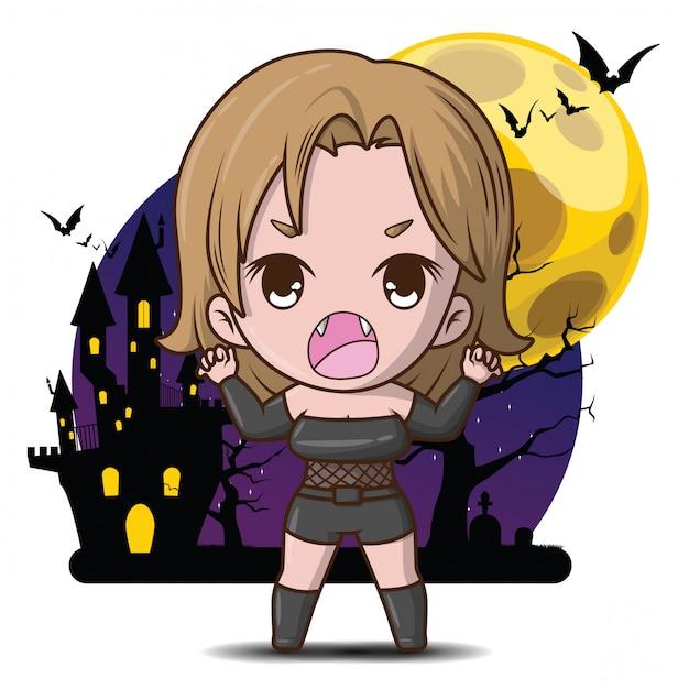 Personaje de dibujos animados lindo vamprie en la ilustración de luna llena. Vector Premium