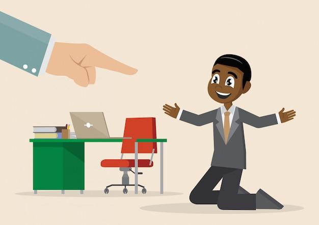 Personaje de dibujos animados, mano de hombre de negocios africano punto arriba hombre seleccionado. Vector Premium