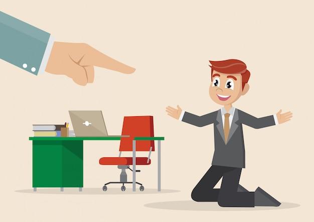 Personaje de dibujos animados, mano de hombre de negocios punto arriba hombre seleccionado. Vector Premium