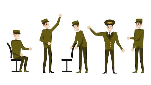 Personaje de dibujos animados militar Vector Premium