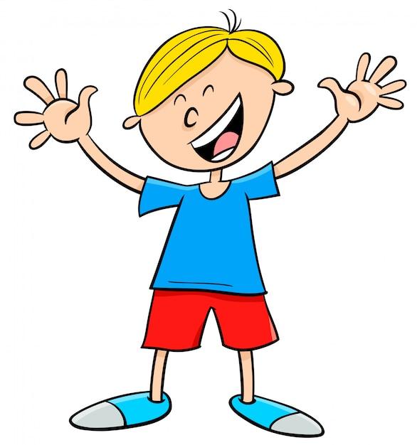 Personaje de dibujos animados niño feliz | Vector Premium