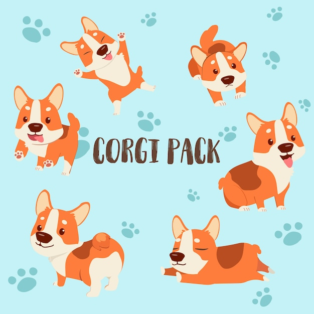 Personaje de dibujos animados paquete corgi Vector Premium