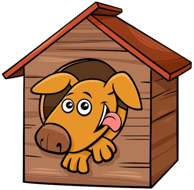 Personaje de dibujos animados perro animal en caseta de perro Vector Premium
