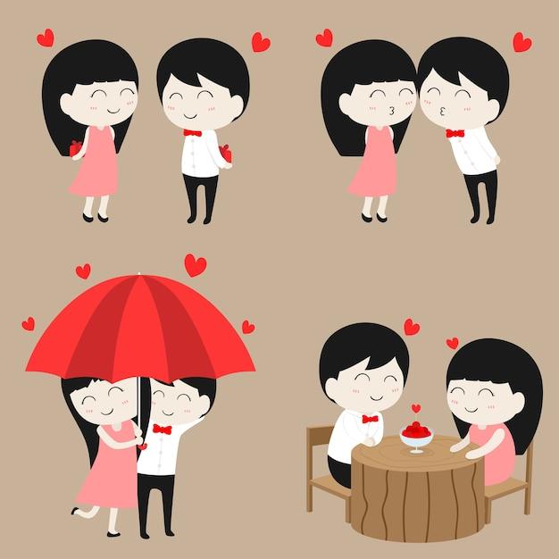 Personaje De Dibujos Animados Plano Lindo Pareja Amor En Conjunto De