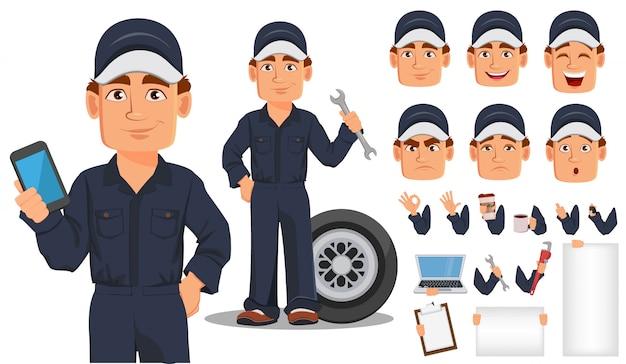Personaje de dibujos animados profesional mecánico de automóviles Vector Premium