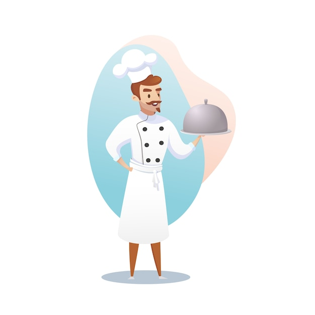Personaje de dibujos animados shef cocinero sosteniendo un plato listo Vector Premium