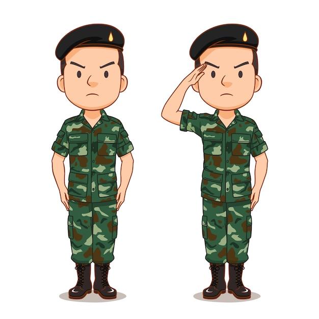 Personaje de dibujos animados de soldado tailandés Vector Premium