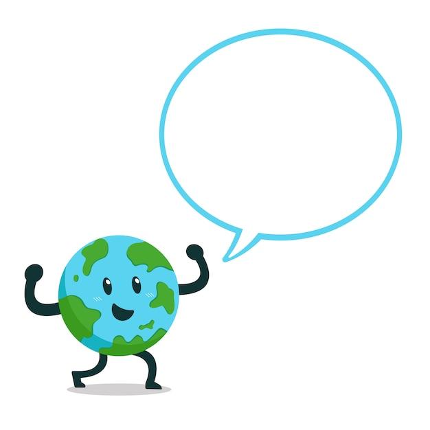 Personaje de dibujos animados de la tierra con la burbuja del discurso Vector Premium
